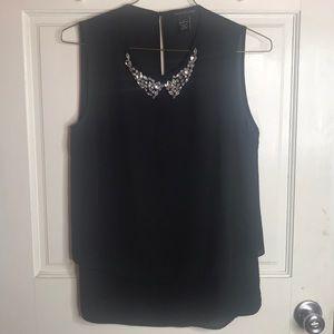 Black tank top jeweled collar